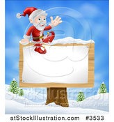 Vector Illustration of Santa Waving and Sitting on a Winter Sign Post by AtStockIllustration