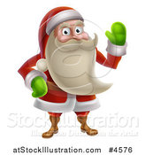 Vector Illustration of Santa Waving and Wearing Green Mittens by AtStockIllustration