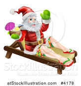 Vector Illustration of Santa Waving in Surf Shorts and Drinking a Cocktail on a Beach Lounge Chair by AtStockIllustration