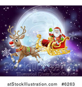Vector Illustration of Santa Waving While Flying in a Sleigh Led by Rudolph the Red Nosed Reindeer, with Snowflakes and a Full Moon by AtStockIllustration