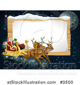 Vector Illustration of Santas Christmas Reindeer Sleigh in the Sky over a Wooden Sign by AtStockIllustration