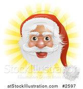 Vector Illustration of Santas Face over Yellow Rays by AtStockIllustration