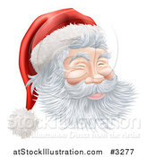 Vector Illustration of Santas Face with a Jolly Expression by AtStockIllustration