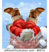 Vector Illustration of Santas Legs Sticking out from a Chimney with Snowflakes by AtStockIllustration