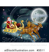 Vector Illustration of Santas Magic Reindeer and Sleigh Flying near the Moon on Christmas Eve by AtStockIllustration