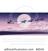Vector Illustration of Santas Magic Sleigh and Reindeer Flying over a Winter Landscape and Full Moon by AtStockIllustration