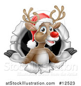 Vector Illustration of Santa's Red Nosed Reindeer Breaking Through a Wall by AtStockIllustration