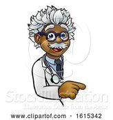 Vector Illustration of Scientist Character Pointing Sign by AtStockIllustration