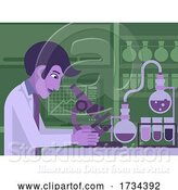 Vector Illustration of Scientist Working in Laboratory with Microscope by AtStockIllustration