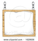 Vector Illustration of Scroll Wooden Sign Hanging from Chains by AtStockIllustration