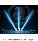 Vector Illustration of Search or Spot Lights Shining Blue Beams over Stars by AtStockIllustration