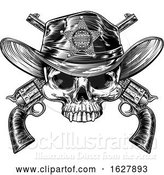Vector Illustration of Sheriff Badge Hat Skull and Pistols by AtStockIllustration