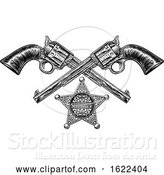 Vector Illustration of Sheriff Star Badge and Pistols by AtStockIllustration