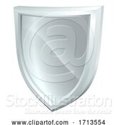 Vector Illustration of Shield Silver Metal Icon by AtStockIllustration
