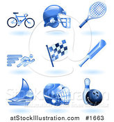 Vector Illustration of Shiny Blue Athletics Icons by AtStockIllustration