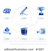 Vector Illustration of Shiny Blue Business Icons by AtStockIllustration
