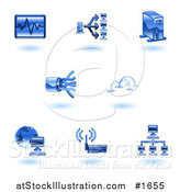 Vector Illustration of Shiny Blue Computer Tech Icons by AtStockIllustration