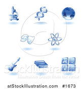 Vector Illustration of Shiny Blue Education Subject Icons by AtStockIllustration