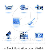 Vector Illustration of Shiny Blue Entertainment Icons by AtStockIllustration