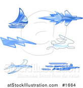 Vector Illustration of Shiny Blue Fast Icons by AtStockIllustration