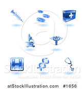 Vector Illustration of Shiny Blue Health Care Icons by AtStockIllustration