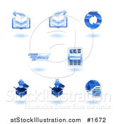 Vector Illustration of Shiny Blue Internet Icons by AtStockIllustration