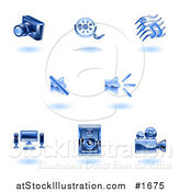 Vector Illustration of Shiny Blue Media Icons by AtStockIllustration