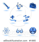 Vector Illustration of Shiny Blue Medical Icons by AtStockIllustration