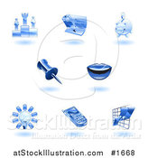 Vector Illustration of Shiny Blue Office Icons by AtStockIllustration