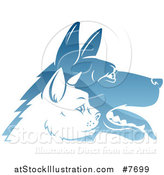 Vector Illustration of Shiny Blue Profiled Dog and Cat Faces by AtStockIllustration