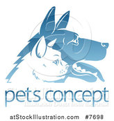 Vector Illustration of Shiny Blue Profiled Dog and Cat Faces over Sample Text by AtStockIllustration