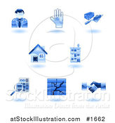 Vector Illustration of Shiny Blue Real Estate Icons by AtStockIllustration