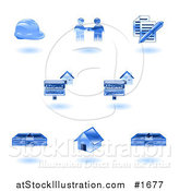 Vector Illustration of Shiny Blue Realty Icons by AtStockIllustration