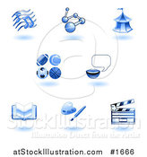 Vector Illustration of Shiny Blue School Subject Icons by AtStockIllustration