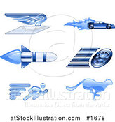 Vector Illustration of Shiny Blue Speed Icons by AtStockIllustration