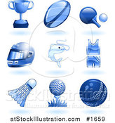 Vector Illustration of Shiny Blue Sports and Recreation Icons by AtStockIllustration