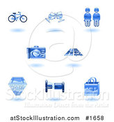 Vector Illustration of Shiny Blue Tourist Icons by AtStockIllustration