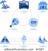 Vector Illustration of Shiny Blue Travel and Tourism Icons by AtStockIllustration