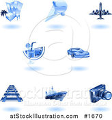Vector Illustration of Shiny Blue Travel Icons by AtStockIllustration