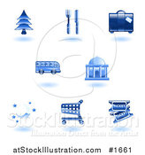Vector Illustration of Shiny Blue Travel Services Icons by AtStockIllustration