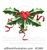 Vector Illustration of Shiny Red Ribbons on Christmas Holly and Berries by AtStockIllustration