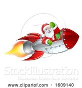 Vector Illustration of Shooting Rocket with Santa Waving by AtStockIllustration