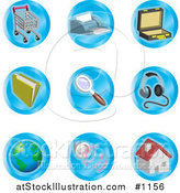 Vector Illustration of Shopping Cart, Printer, Briefcase, File, Magnifying Glass, Headphones, Globe, Speakers and Home Color Icons on a White Background by AtStockIllustration