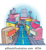 Vector Illustration of Shops Downtown in a City by AtStockIllustration