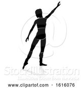 Vector Illustration of Silhouette Ballet Dancer, on a White Background by AtStockIllustration
