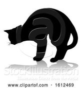 Vector Illustration of Silhouette Cat Pet Animal, on a White Background by AtStockIllustration