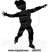 Vector Illustration of Silhouette Child Ice Skating Christmas Clothing by AtStockIllustration