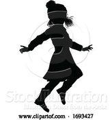 Vector Illustration of Silhouette Child Kid in Christmas Winter Clothing by AtStockIllustration