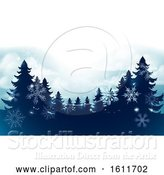 Vector Illustration of Silhouette Christmas Trees Snow Scene Background by AtStockIllustration