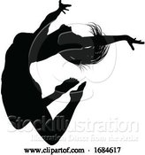 Vector Illustration of Silhouette Dancer Jumping by AtStockIllustration
